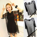 Manu New European Style Summer Autumn Plus Size HOT Women See through Sheer Mesh Short Sleeve Tee T Shirt Oversize Tops