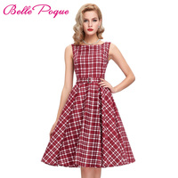 Plaid Dresses Women Summer Dress Vintage 50s 60s Rockabilly Cotton Sleeveless Audrey Hepburn Robe Retro Vestido Party Dress 2017