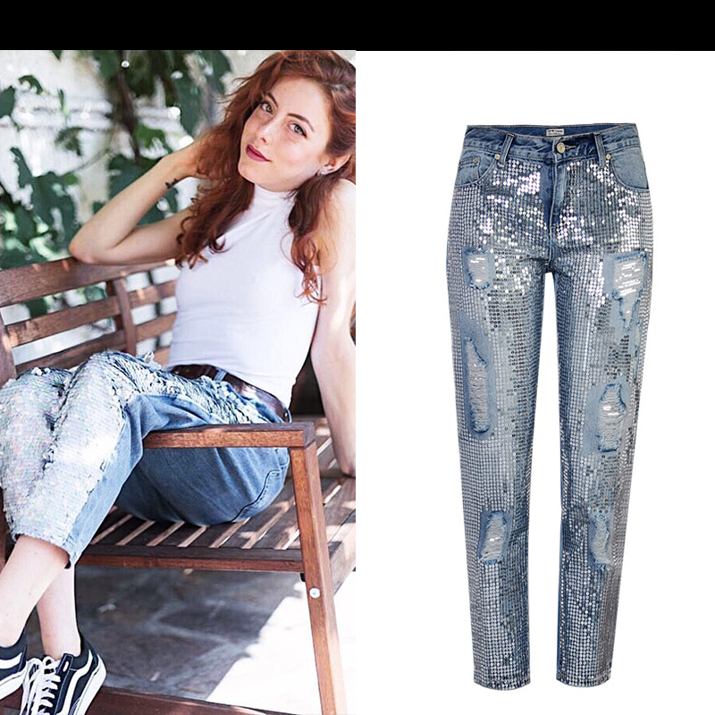 18 Fashion Hole jeans woman ripped jeans for women jeans Sequined mujer femme denim jean pants Scratched pantalones feminino 4