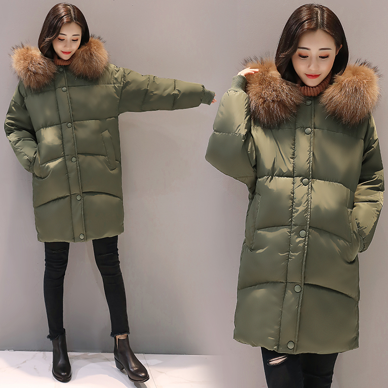 Bri 2018 New Fashion Hooded Larger Fur Collar Women Winter Jackets and Coats Female Cotton Padded Long   Parkas   Ladies Snowwear