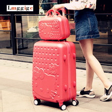 Howdy Kitty Baggage Set,Colourful ABS Carry-Ons,Common Wheel Spinner Journey Field,Rolling Trolley Hardcase Light-weight Suitcase