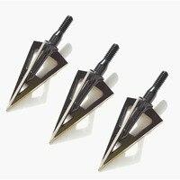 9pcs 100grain Broadhead Hunting Arrowhead steel blades black arrowheads shooting practice archery arrow point 2'' cut diameter
