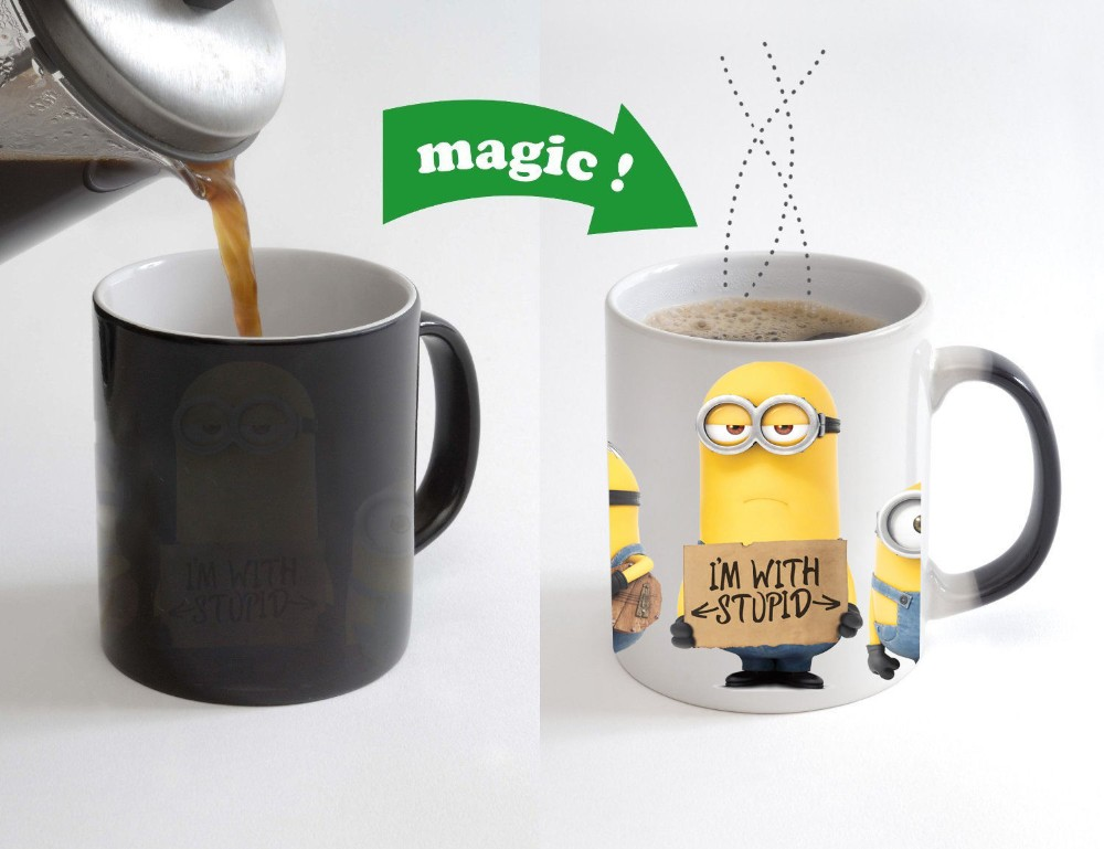 I am with Stupid Minion Color Changing Magic Heat sensitive Coffee Mug