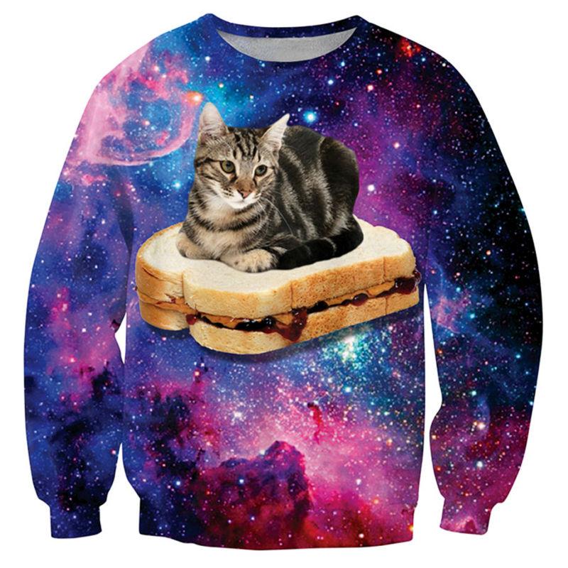 Harajuku Sweatshirts Hoodies Men Graphic Cat Sandwich Galaxy Space 3D Print Hip Hop Fashion Mixed Color Funny Sweats Tops