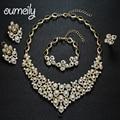 OUMEILY Conjuntos de Jóias Para Mulheres Acessórios Do Casamento Africano Beads Partido Banhado A Ouro de Imitação de Cristal Brincos Colar de Pingente