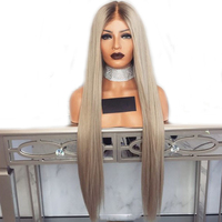 DLME silk straight platinum blonde wig 180% glueless lace front synthetic wigs with brown root heat resistant hair for women