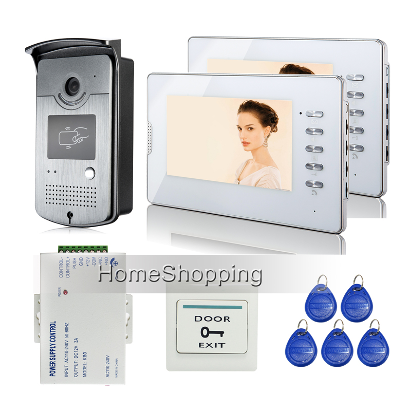 FREE SHIPPING New 7 Color LCD Video Door Phone Doorbell Intercom System HD RFID Reader Camera + 2 White Monitor + Power Supply free shipping new 10 lcd color screen video door phone intercom kit outdoor rfid reader doorbell camera electric door lock