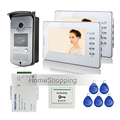 "FREE SHIPPING New 7"" Color LCD Video Door Phone Doorbell Intercom System HD RFID Reader Camera + 2 White Monitor + Power Supply"