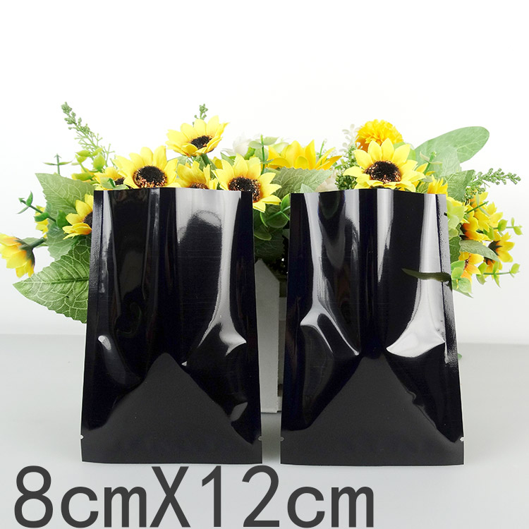 200Pcs/Lot 8*12cm Black Heat Seal Plating Aluminum Foil Bags Snack Food Storage Package Plastic Flat Mylar Foil Bag Vacuum Pouch
