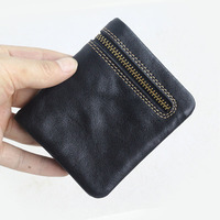Unisex Wallet Women Men Leather Genuine Vintage Coin Purse Zipper Men Wallets Small Perse Solid RFID Card Holder