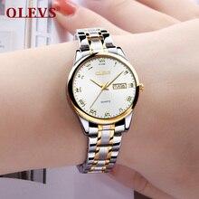 OLEVS женские часы Женская мода простая женщина часы 2018 Роскошные брендовые montre femme uhren damen стали металлические браслеты для часов Новый