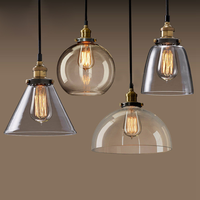Retro loft Amerikaanse vintage glazen hanglamp met Edison lampen ...