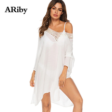 Summer Beach Dress White Women Dress ARiby Sexy Deep V Collar Hollow Out Split Nine Points Sleeves Loose Irregular Dress Vestido floral nine points sleeve hollow lace dress