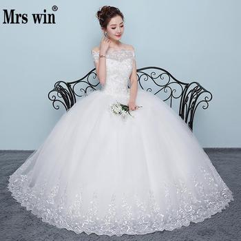 Wedding Dress 2018 New Mrs Win Cheap Boat Neck Ball Gown Off The Shoulder Princess Wedding Dresses Plus Size Vestido De Noiva F 1