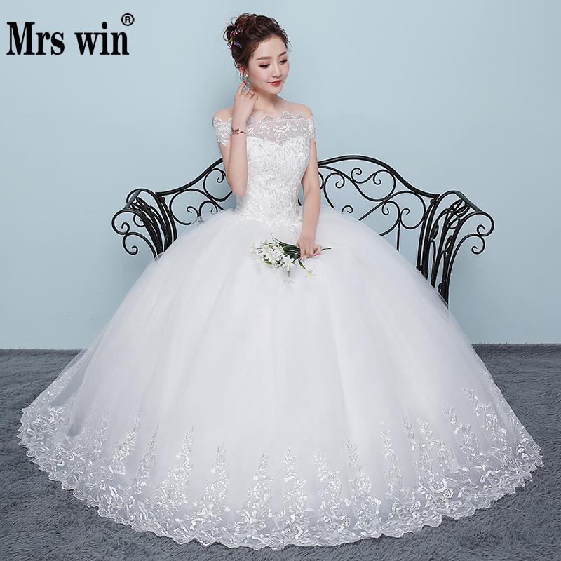Robe De mariée 2018 Nouvelle Mme Gagner Pas Cher Col Bateau Robe De Bal De L'épaule Princesse Mariage robes De grande taille Robe De Noiva F