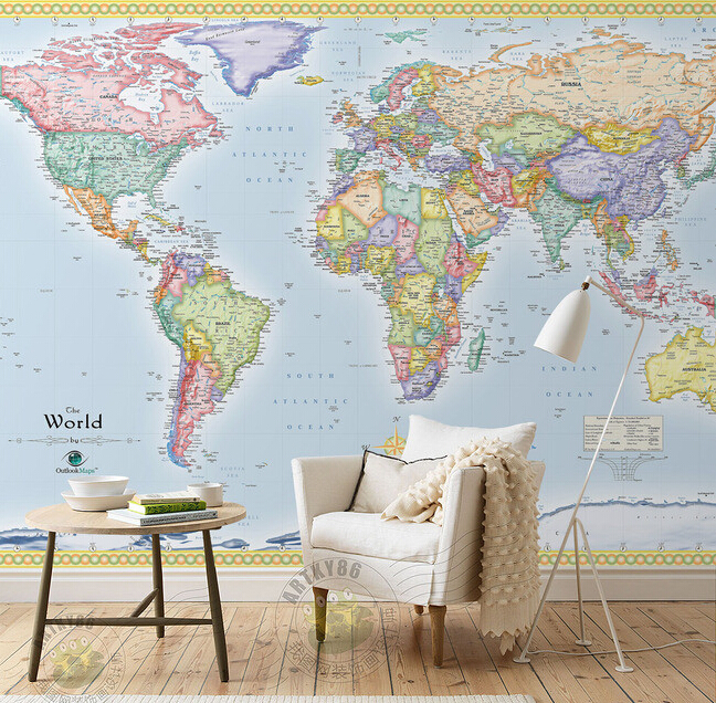 Custom Papel DE Parede Infantil, The World Map For The Living Room Bedroom Children's Room Wall Waterproof Wallpaper