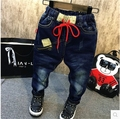 2016 new winter boys all-match handsome cotton drawstring comfortable with velvet jeans free shipping