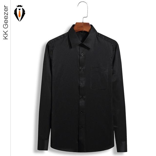 2016 New Fashion Casual Men Shirt Long Sleeve Trend Slim Fit Black ...