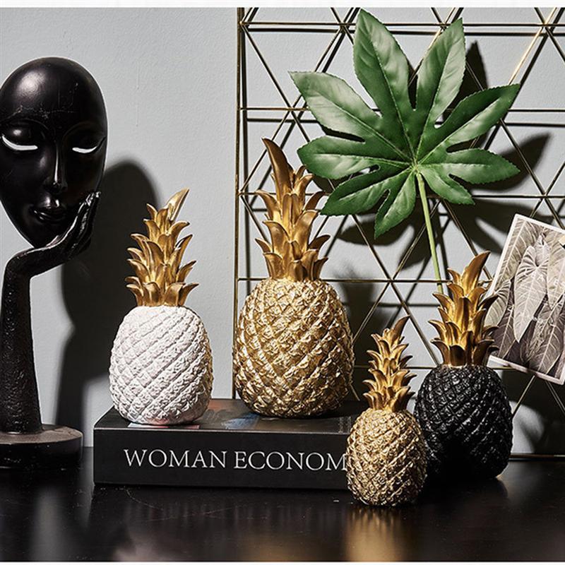 Piña dorada de resina creativa nórdica artesanías de frutas para sala de estar gabinete de vino ventana escritorio hogar Decoración de mesa artesanía