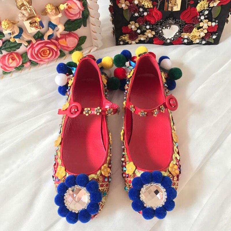 2018 г. Модные женские роскошные кожаные туфли с разноцветными шариками, украшенные кристаллами, с цветами без каблука, с пряжкой и ремешком С... - 2