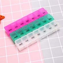 1pc 7 dias semanais tablet pílula medicina caixa titular organizador de armazenamento recipiente caso pílula caixa divisores 15x3x2.5cm