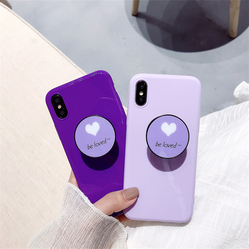 Galleria fotografica Simple purple with the same paragraph bracket for Apple iphone 11 x XS Max XR 6S phone shell iPhone7/8plus women's 6s soft cover