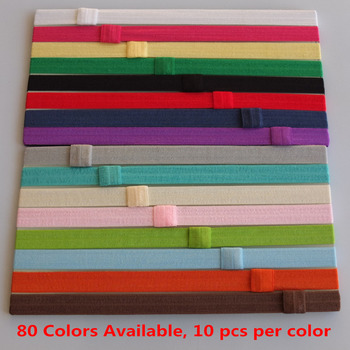 5/8 solid Fold over elastic hairbands, FOE headands, 80 stock colors