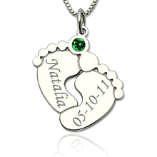 купить StrollGirl 925 Silver personalized Baby Feet Necklace with Birthstone Custom Engraved Name&Date Pendant Necklace for Baby Gift по цене 1559.49 рублей