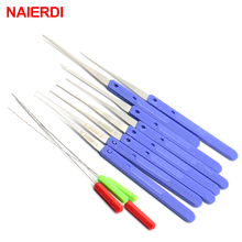NED High quality 12 pcs Color Blue Fold Pick Tool Broken Key Remove Auto Locksmith Tool Key Extractor Hardware Handle DIY Tools цена в Москве и Питере