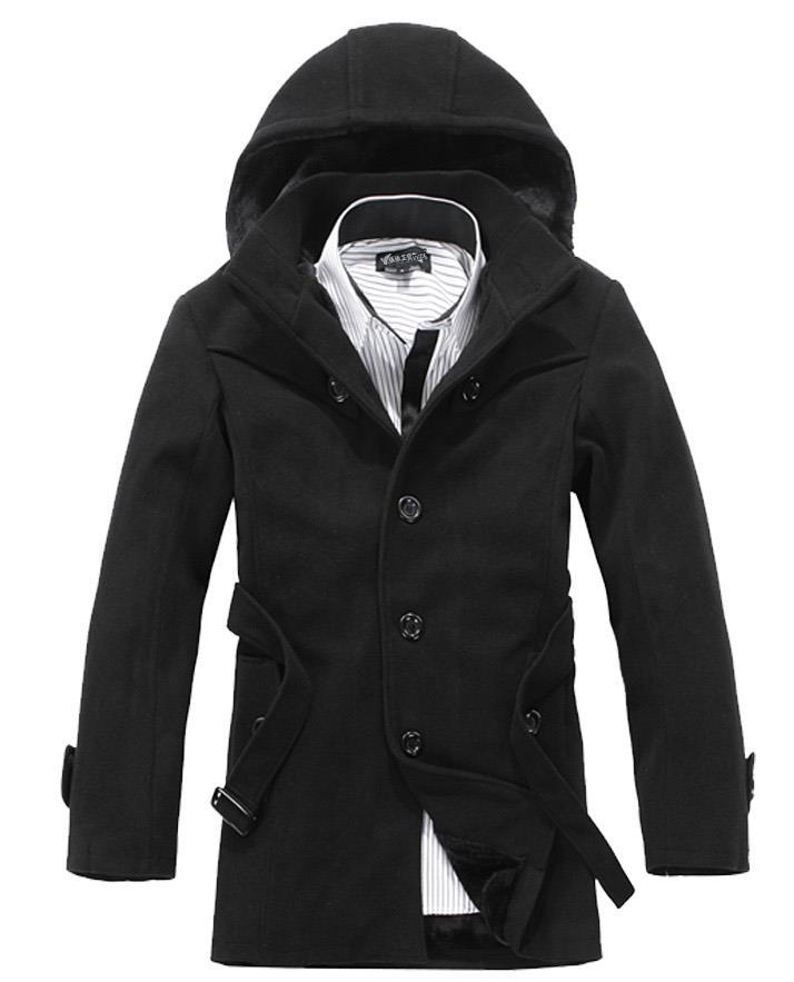Black Hooded Wool Coat Promotion-Shop for Promotional Black Hooded