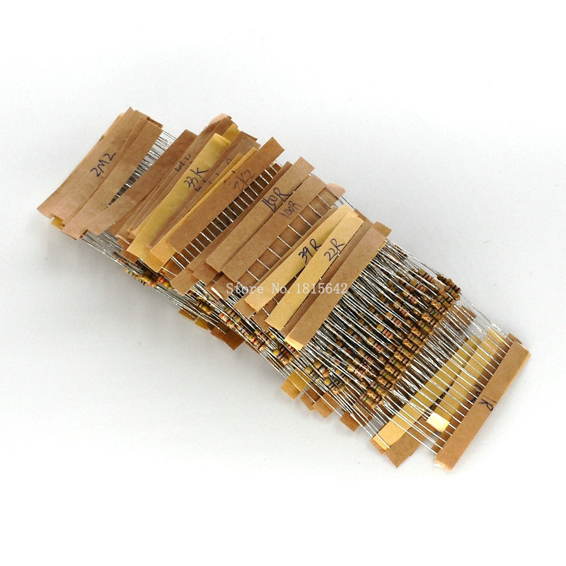 500PCS/LOT 1/4w 0.25w 5% Carbon Film Resistor Kit 50 Values Assortment Pack Mix Selection 1 Ohm-10M Ohm 50 Values Each 10PCS