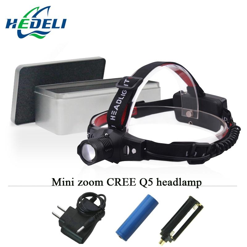 mini headlamp headlight led cree xpe q5 flashlight forehead Head lamp head torch 18650 rechargeable batter OR AAA head light