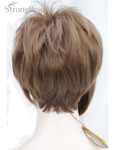 Image 5 - قوي الجمال فتاة الاصطناعية الطبيعي موجة قصيرة الجانب جزء باروكة شقراء مع الانفجارات الذكية قصات الشعر للشابات تأثيري الباروكات