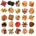Classic IQ 3D Wooden Puzzle Mind Brain Teaser Interlocking Burr Puzzles Game Toys for Adults Children Kids
