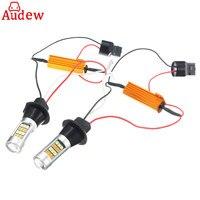 2pcs 7440 Car LED Lamp Amber White Color 2835 LED Bulbs Error Free Turn Signal Lights