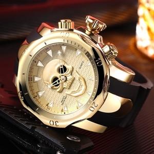 Image 4 - Relojes para hombre de cuarzo estilo calavera pirata 3D, reloj deportivo de silicona militar, resistente al agua, Masculino