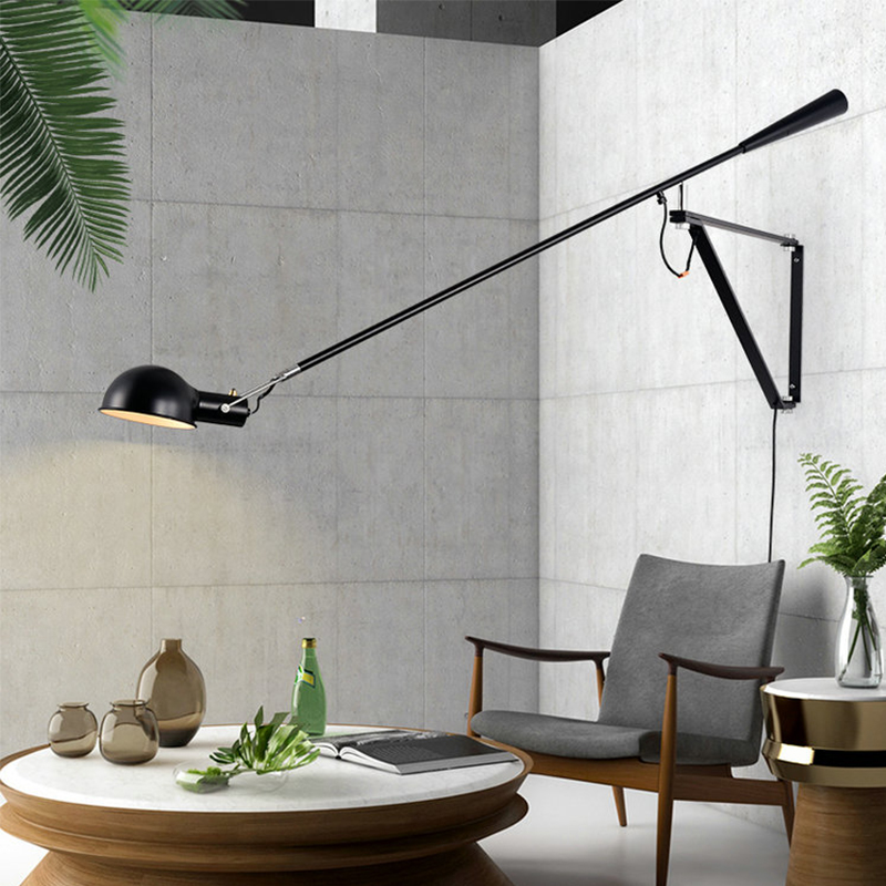 European Art Decor LED Wall Mounted Bedside Light White Black Adjustable Long Arm Wall Lamp With Switch And EU/US Plug In