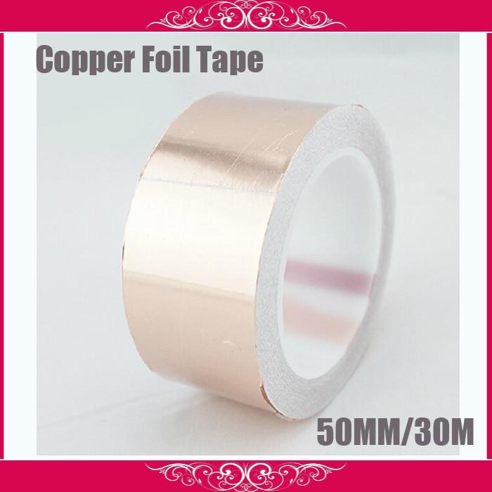 50MM X 30M Conductive Copper Foil Tape Copper Strip,High Temperature Resistant Tape wt 018 black low position copper base high temperature resistant cpu cold head silver