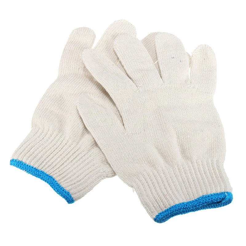 1 Pair White Cotton Yarn Safety Gloves Industry Kint Working Gloves Labour Protection Protective Gloves for Worker 1 double cotton gloves white green