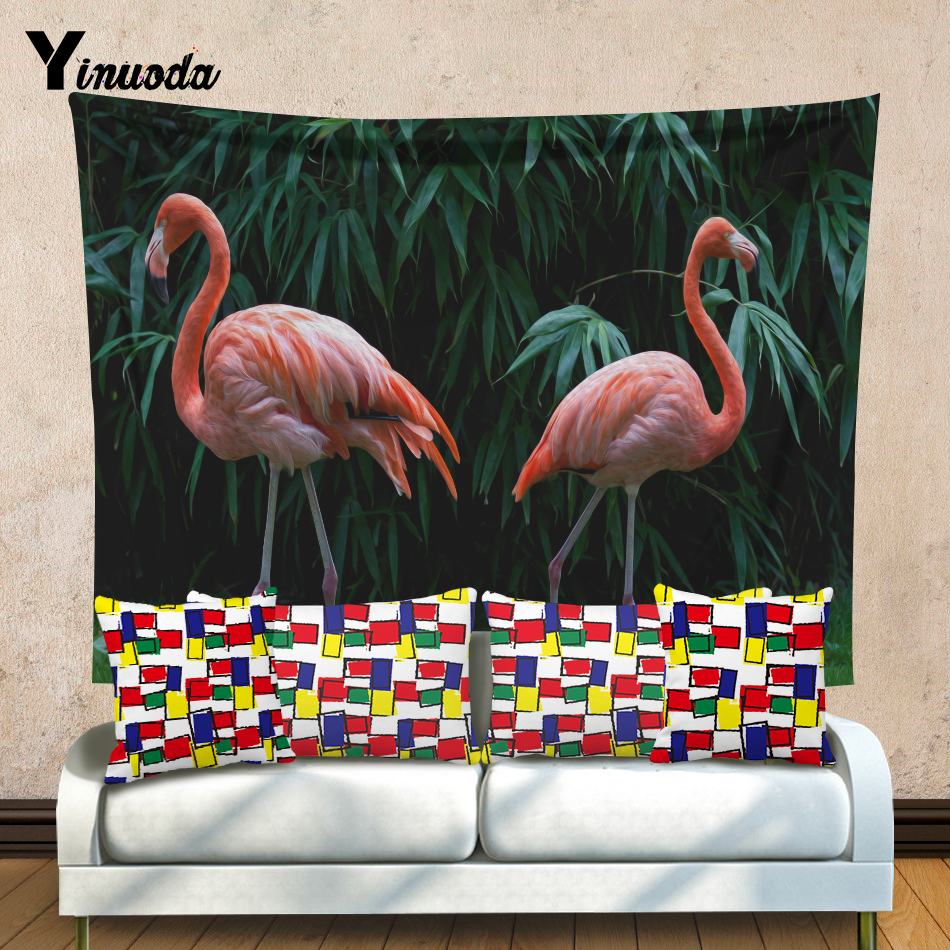 Yinuoda Tropical Leaf Flamingo And Elephant Pattern Wall Art Hanging Tapestry Decorative Sofa Chair Cover Cloth size 200*150