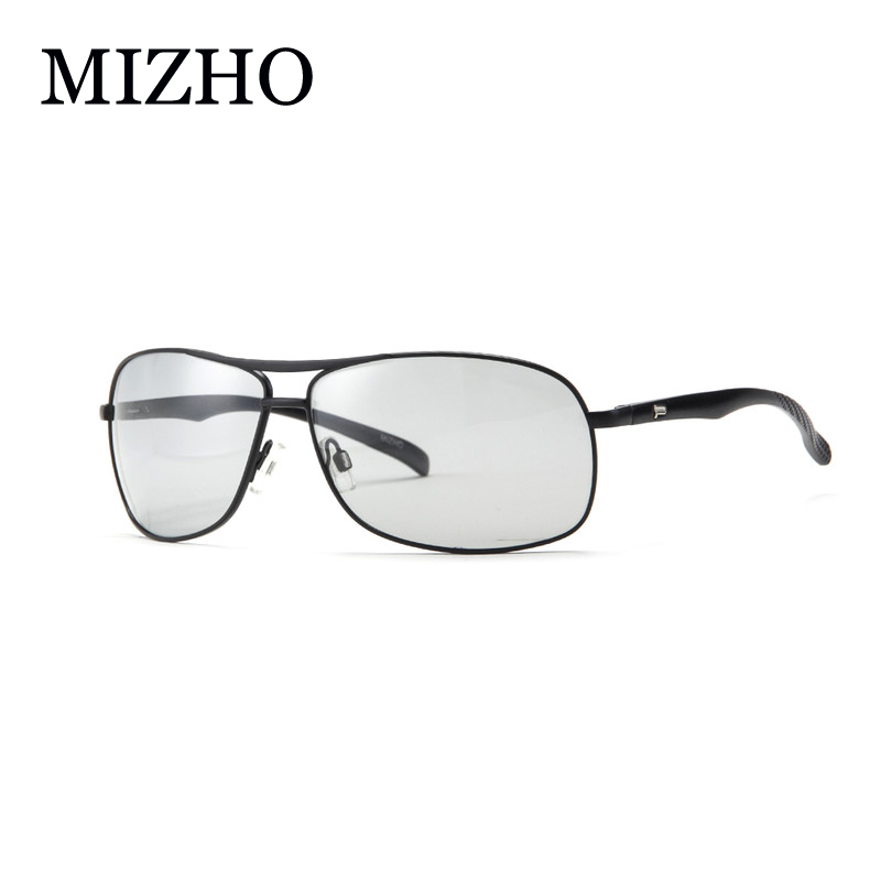 MIZHO HD Night Vision All weather Snow Sunglasses Men Polarized Driving Aluminum Tint Photochromic Glasses For