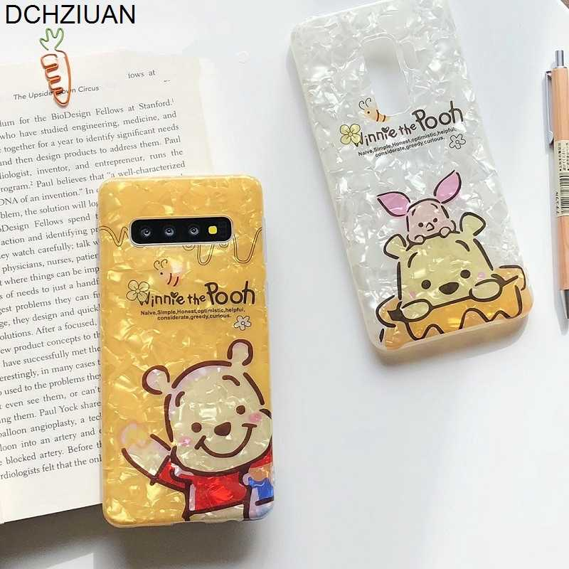 DCHZIUAN Bear Pooh Phone Cases For Samsung Galaxy S9 S8 S10 Plus Note 9 8 Conch Shell Cute Cartoon Silicone Case Cover Coque