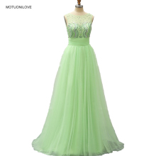 Actual Images Evening Gown Formal Party Dress Sparkle Crystals Mint Green Sheer Neck Backless Sexy Tulle Prom Graduation Dresses