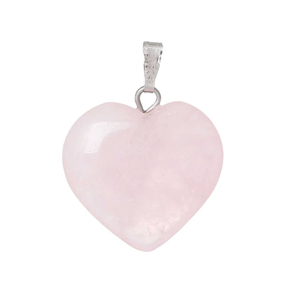 Doreenbeads Hot Fashion Women (Grade B) Created Rose Gem Stone Charm Pendants Heart Pink Jewelry Gift 27 x 21mm, Hole: 6x2mm 1PC