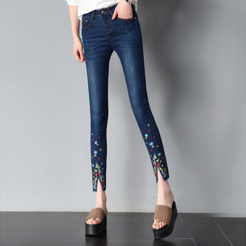 Vaqueros Blue Mujeres Dama Pantalones Navy Mujer Las Casual light Alta Slim Skinny Cintura De Blue Denim La Moda vwpqWBx