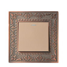 Wall Switch 1 Gang Way86 Antique Copper Carved Zinc Alloy Panel 10A AC110-250V