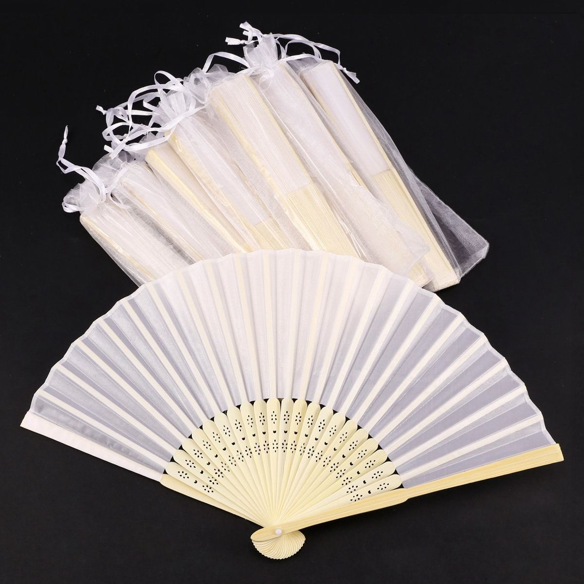 Hot Sale 10x Fan In White Silk Fabric + Bamboo With Gift Bag In Muslin For Wedding Personalized Dancing Writing Painting