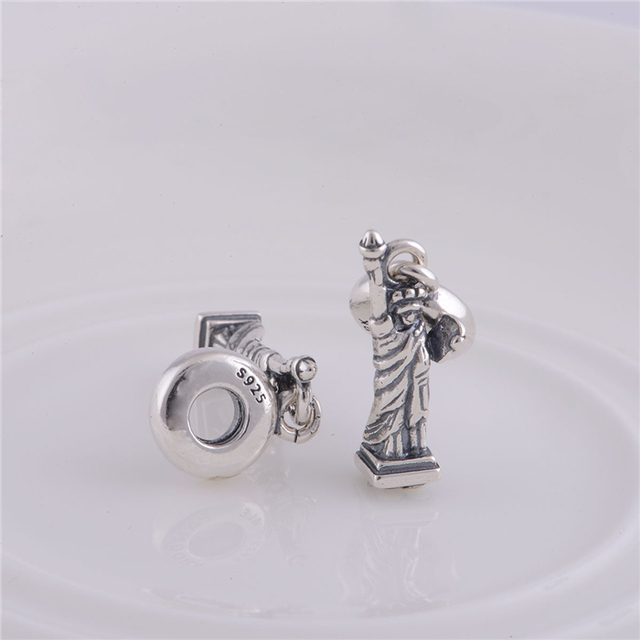 1bda9a18a Fits Pandora Bracelet Necklace DIY Making Fashion 925 Sterling Silver Beads  Statue of Liberty Charm DIY Jewelry For Women LW085