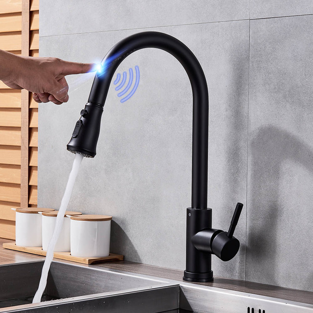 Stainless Steel Sensor Kitchen Faucets Black Touch Inductive ...