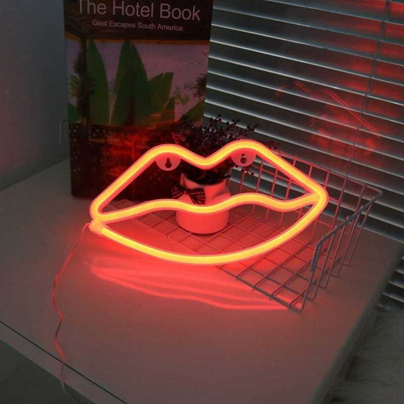 Lindo letrero de neón LED Luz de nube labios Luna luz de neón fiesta boda decoraciones USB Lámpara de noche decoración para el hogar gota envío